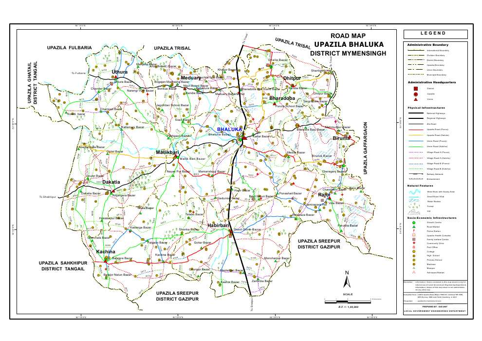 Bhaluka Upazila Road Map Mymensingh District Bangladesh