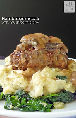 Hamburger Steak with Mushroom Gravy | by Life Tastes Good feeds 4 for about $12 total, and you'll have it on the table in under 30 minutes! #Main #ComfortFood