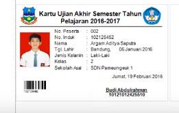 contoh kartu peserta ujian semester