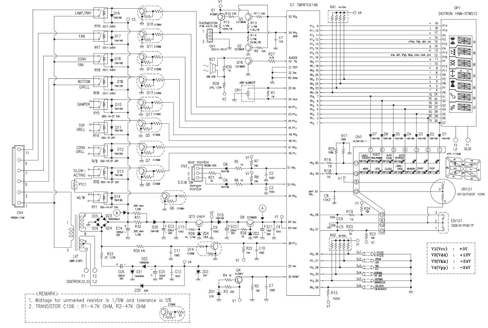 pcb%2Bcircuit%2Bdiagram daewoo koc154k9a27 microwave oven circuit diagram how to lg microwave wiring diagram at gsmportal.co