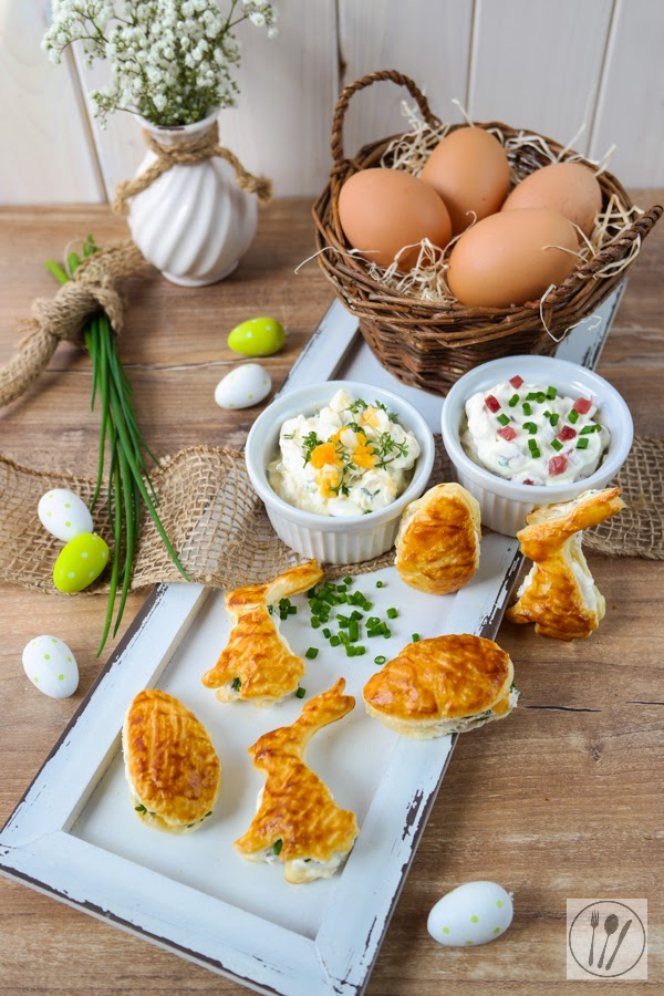 Pikante Blätterteig-Hasen und -Eier