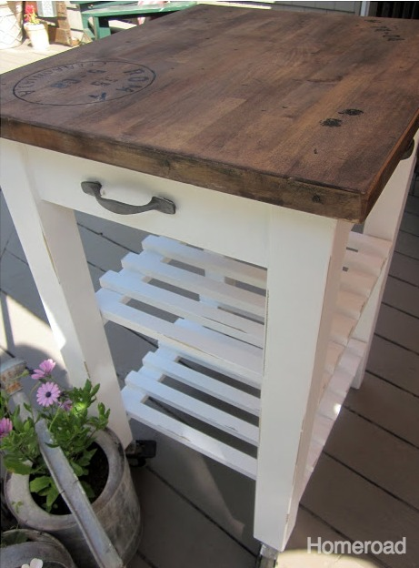 transform an IKEA cart into a rustic kitchen island www.homeroad.net
