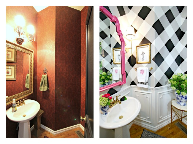 powder bath makeover, before and after, one room challenge