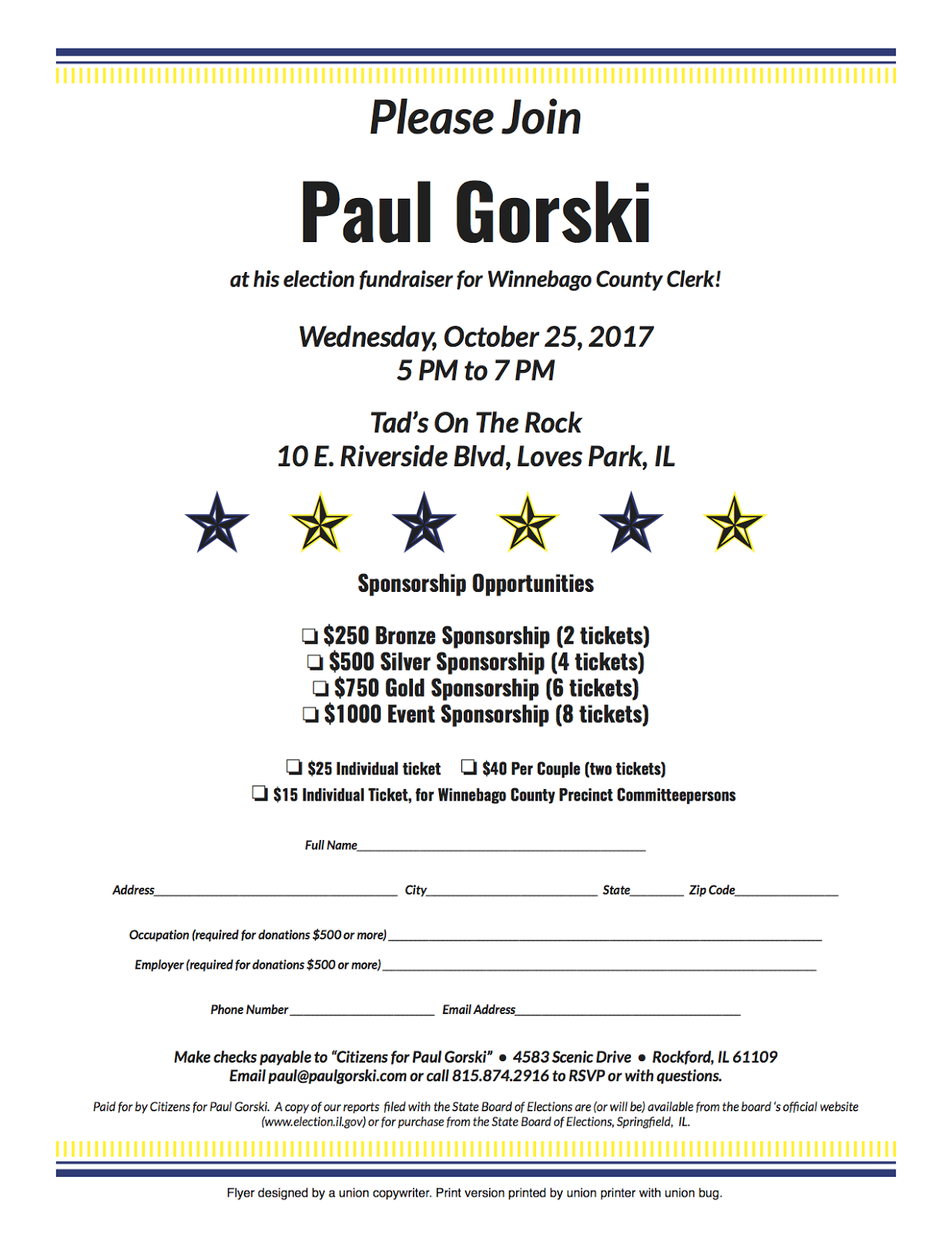 paul gorski for county clerk fundraiser wednesday october 25 2017