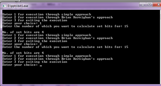 C implementation to count number of set bits