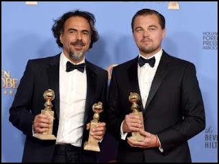 Alejandro G. Iñárritu y Leonardo DiCaprio en los Globos de Oro 2016