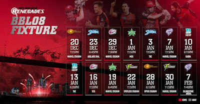 Renegades will begin the BBL season with a home clash against the Scorchers