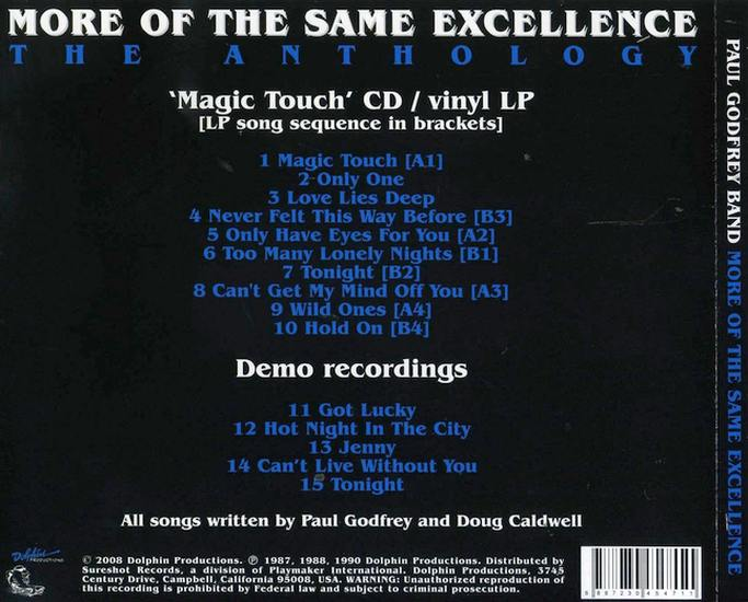 THE PAUL GODFREY BAND - More Of The Same Excellence; The Anthology (1988/2008) back