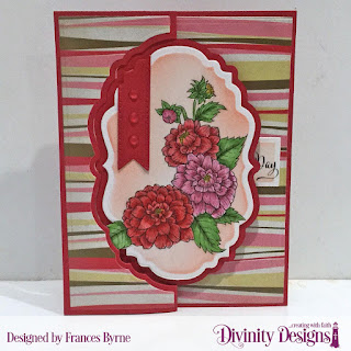 Divinity Designs Stamp Set: Daughter's Best Friend, Custom Dies: Vintage Label Flip Fold Card with Layers, Test Tube Trio, Rectangles, Paper Collection: Beautiful Blooms