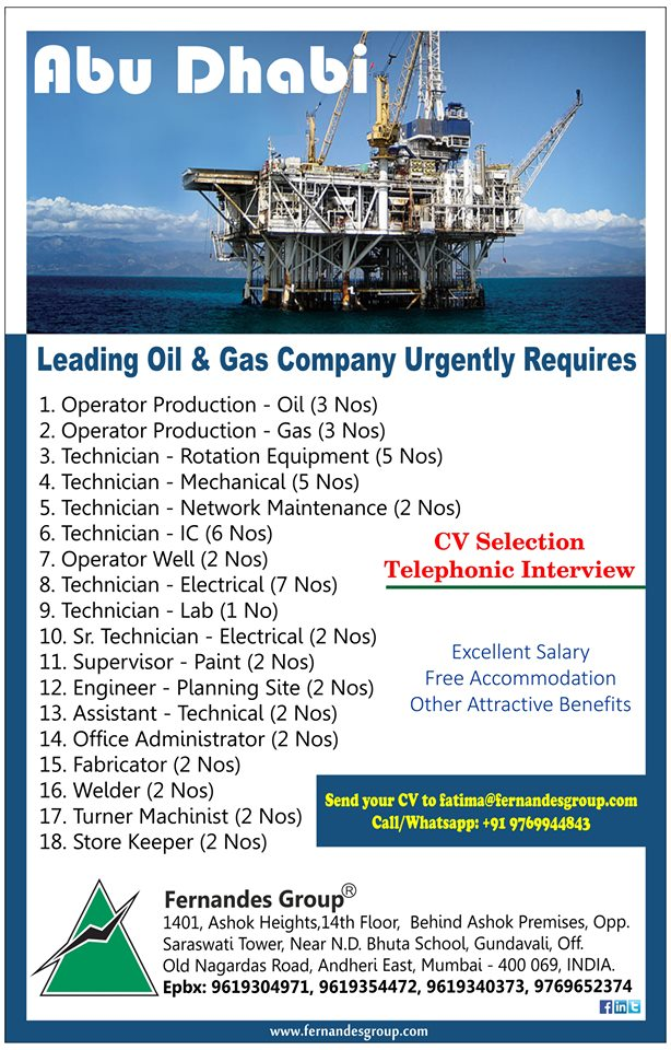 Abu Dhabi a Leading Oil & Gas Company Urgently Required