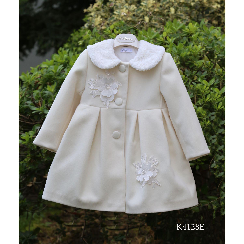 Ivory christening coat with fur collar K 4128e