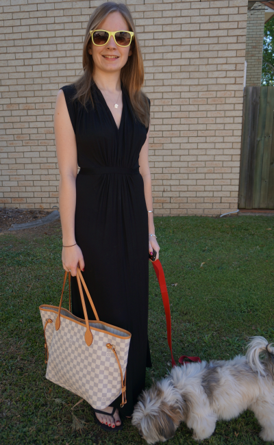 FCUK Black Maxi Dress Road trip outfit w LV neverfull