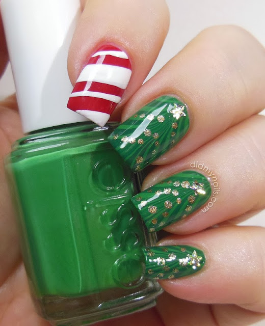 """Christmas Tree Nail Art: Did My Nails: Twinsie Tuesday: Holiday """"Gift"""""""