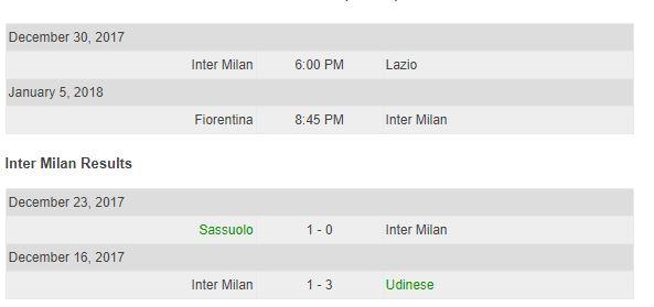 inter milan schedule