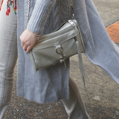 grey winter wool cardigan outfit with Rebecca Minkoff metallic silver mini MAC bag | AwayFromTheBlue