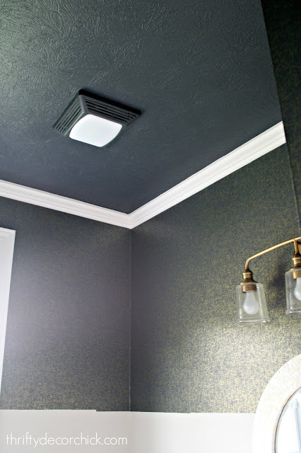 Dark blue painted ceiling
