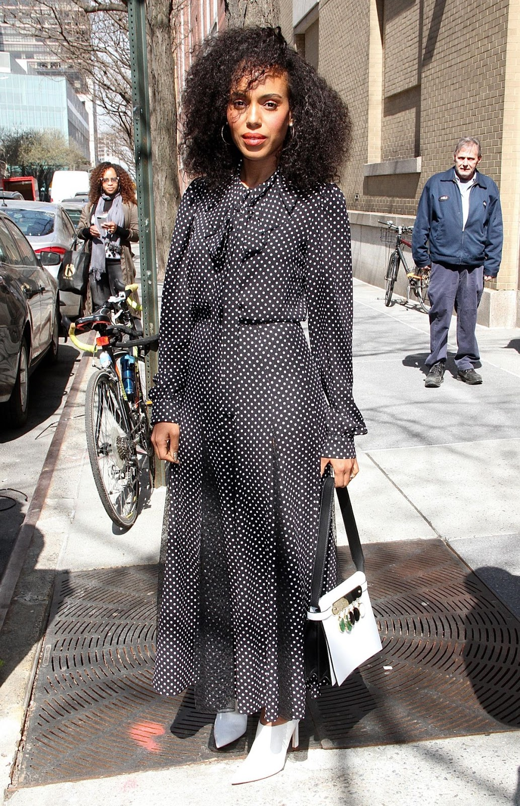 Kerry Washington is polkadot chic in New York