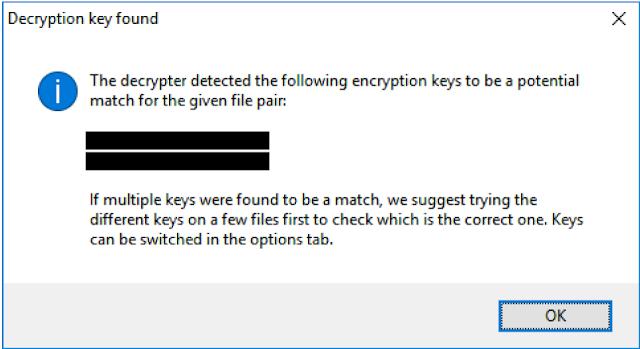 Emsisoft Decrypter for MRCR, chiave per la decriptazione