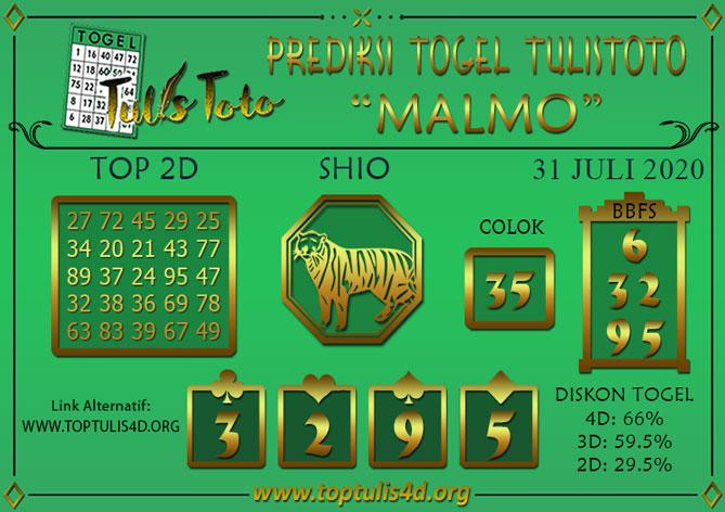 Prediksi Togel MALMO TULISTOTO 31 JULI 2020