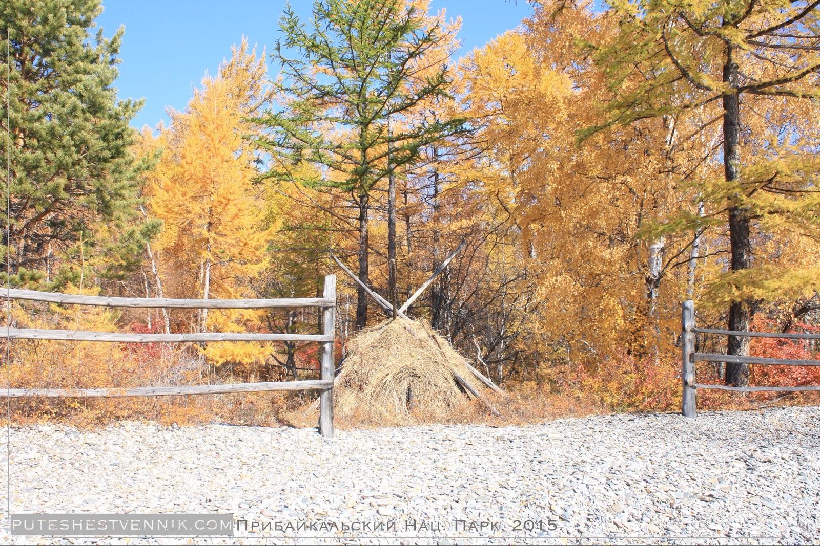 Стог сена и деревянная ограда осенью
