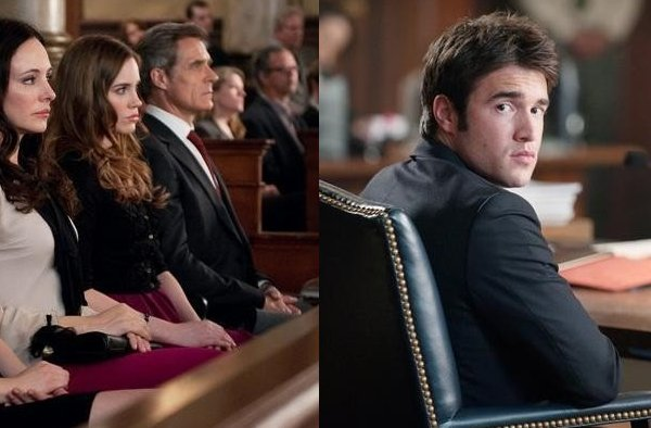 Revenge - In court Victoria (Madeleine Stowe), Charlotte (Christa B. Allen) Conrad (Henry Czerny) sit together, Daniel (Joshua Bowman) sits alone
