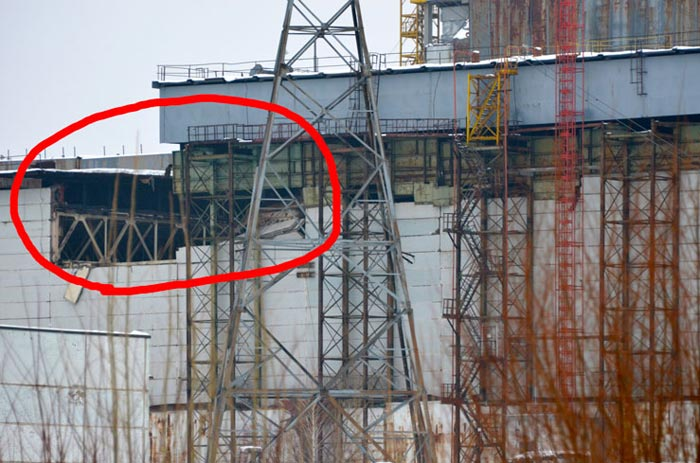 CRISIS MANAGEMENT: Fragment of roof collapse Chernobyl
