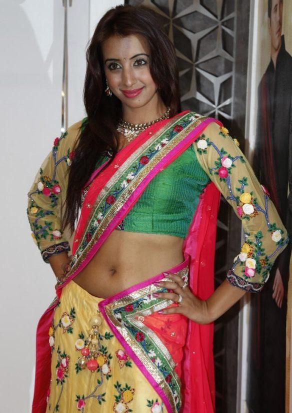 Glamorous Kannada Girl Sanjana Navel Show Photos In Red Lehenga Choli