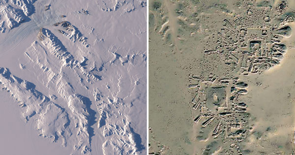 Operation Icebridge images showing ruins of ancient Antarctica city.
