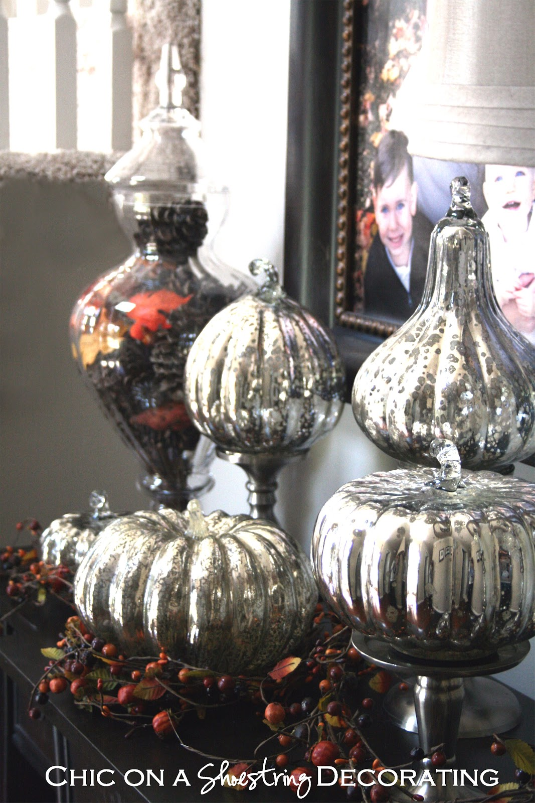 Chic on a Shoestring Decorating: Pumpkinlicious Mercury Glass