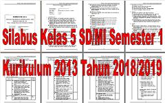 Silabus Kelas 5 SD/MI Semester 1 Kurikulum 2013 Tahun 2018/2019 - Guru Krebet 3
