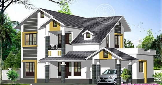 Sloping roof home exterior in 2474 sq.feet | House Design ...