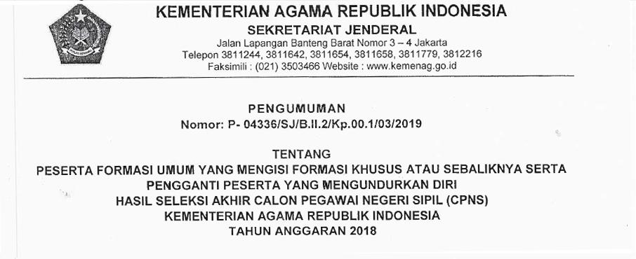 Surat Pengumuman Tahap 2 Formasi CPNS