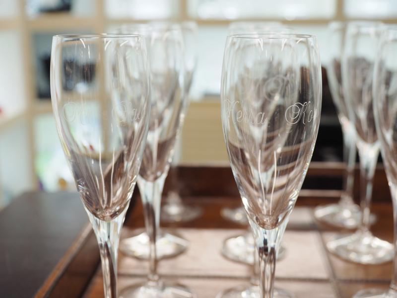 orreforsin shampanjalasit kaiverruksilla