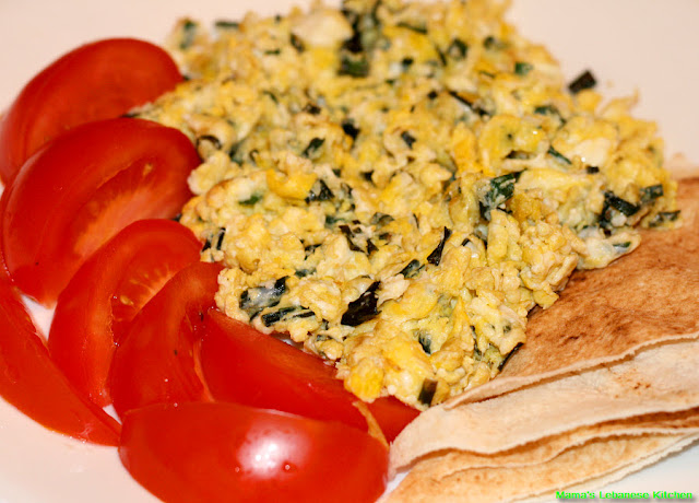 Scrambled Eggs With Green Garlic Leaves: Bayd ala Toum