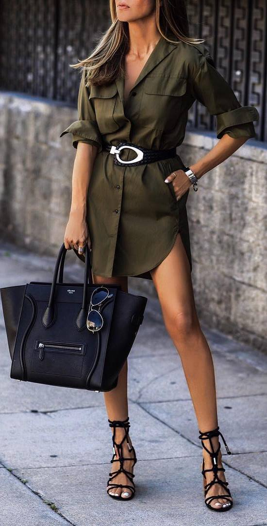casual style perfection: dress + bag + sandals