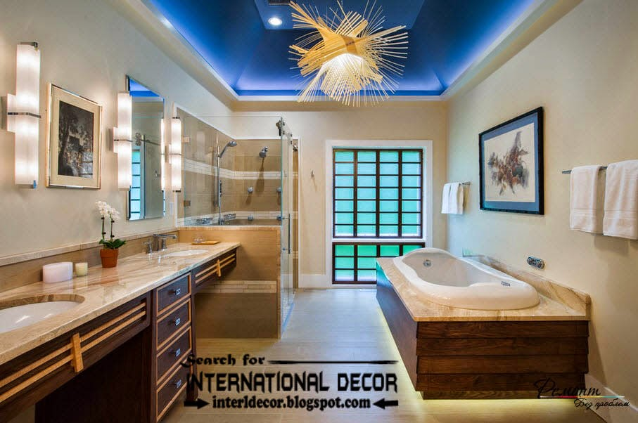 Contemporary bathroom lights and lighting ideas, multi-level ceiling for bathroom