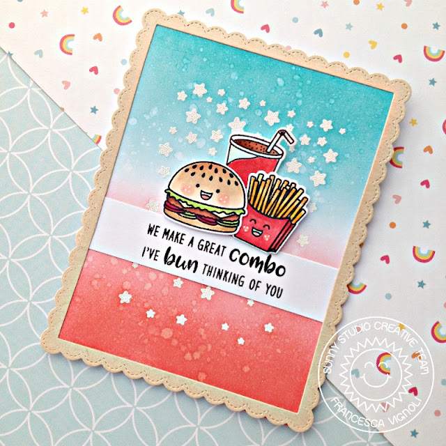 Sunny Studio Stamps: Cascading Stars Fast Food Fun Punny Thinking Of You Card by Franci Vignoli