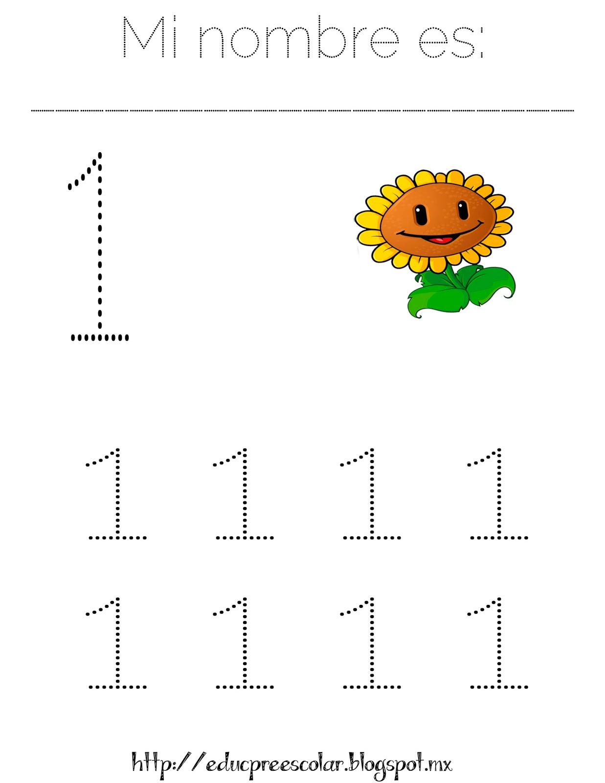 PLANTAS contra ZOMBIS, Hojas de trabajo con números del 1 al 9