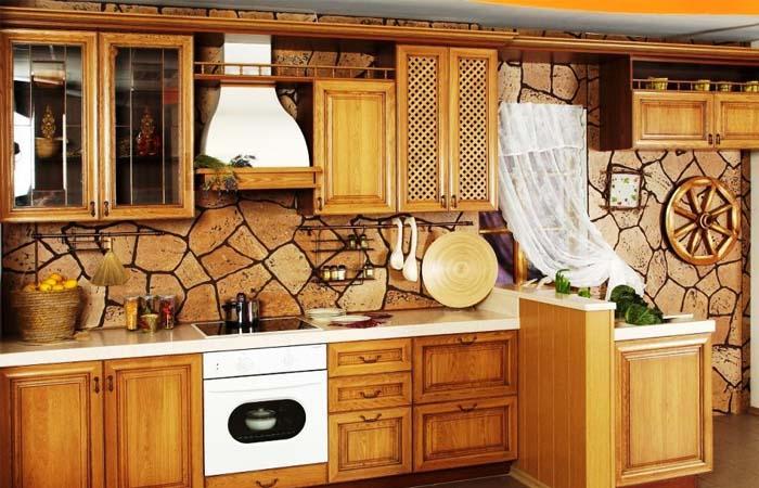 rustik ağaç mutfak duvar kağıdı