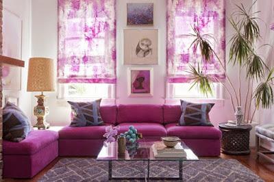 Aneka Konsep Ruang Tamu Nuansa Warna Ungu yang Cantik