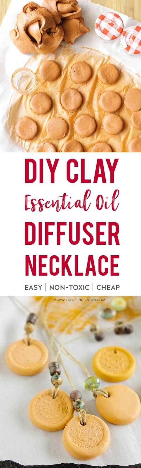 Learn how to make a simple and inexpensive essential oil diffuser necklace using air dry terra cotta clay and your favorite cord material. Decorate it with a rubber stamp and beads to make it look extra special while you enjoy wonderful aromatherapy benefits. This craft project is easy enough for kids to help out and makes a wonderful homemade gift all year long.