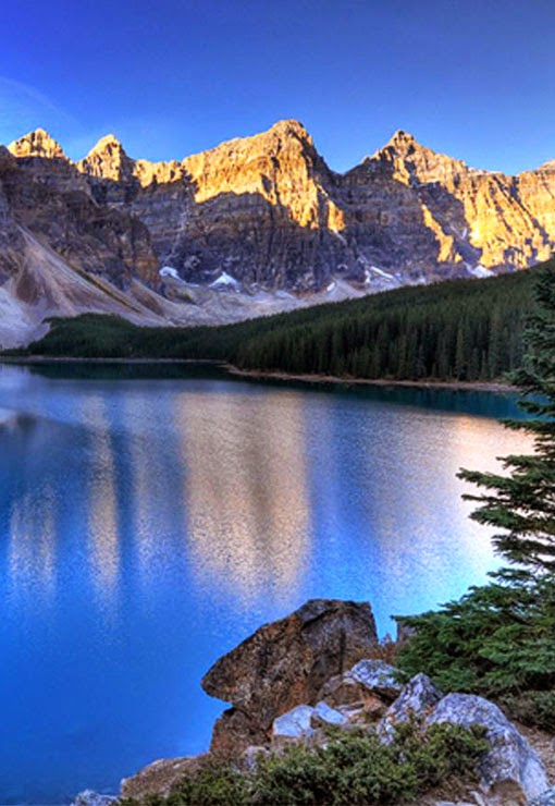 Valley of the Ten Peaks  is a valley in Banff National Park in Alberta, Canada, which is crowned by ten notable peaks and also includes Moraine Lake. The valley can be reached by following the Moraine Lake road near Lake Louise.