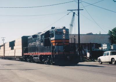 Willamette & Pacific GP9R #1801 in Rainier, Oregon, in Summer 1998