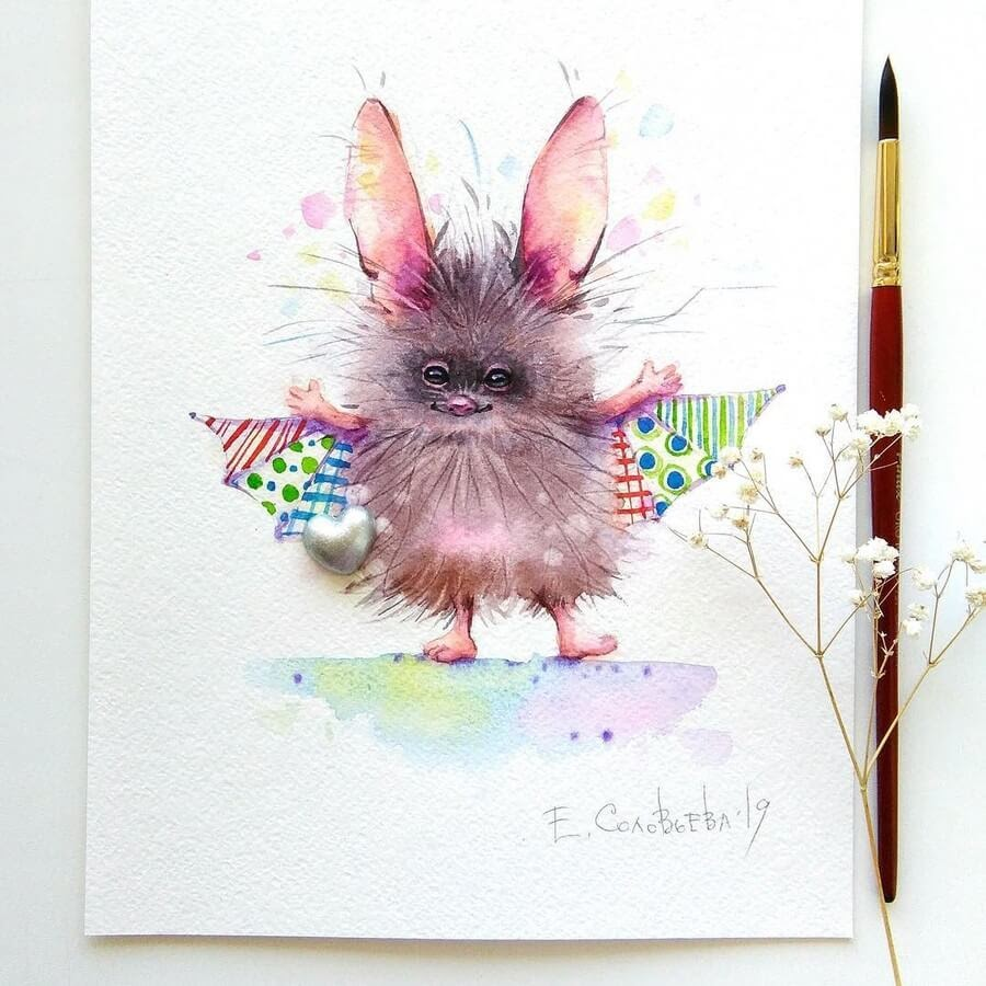 02-Bat-Evgeniya-Solovyova-Fantasy-Animals-Watercolor-Paintings-www-designstack-co