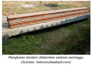 Rangkaian keraton keramik beton didiamkan selama seminggu