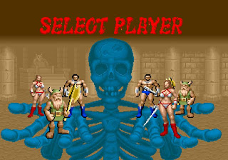 Captura del arcade Golden Axe. Cada jugador puede elegir entre tres personajes