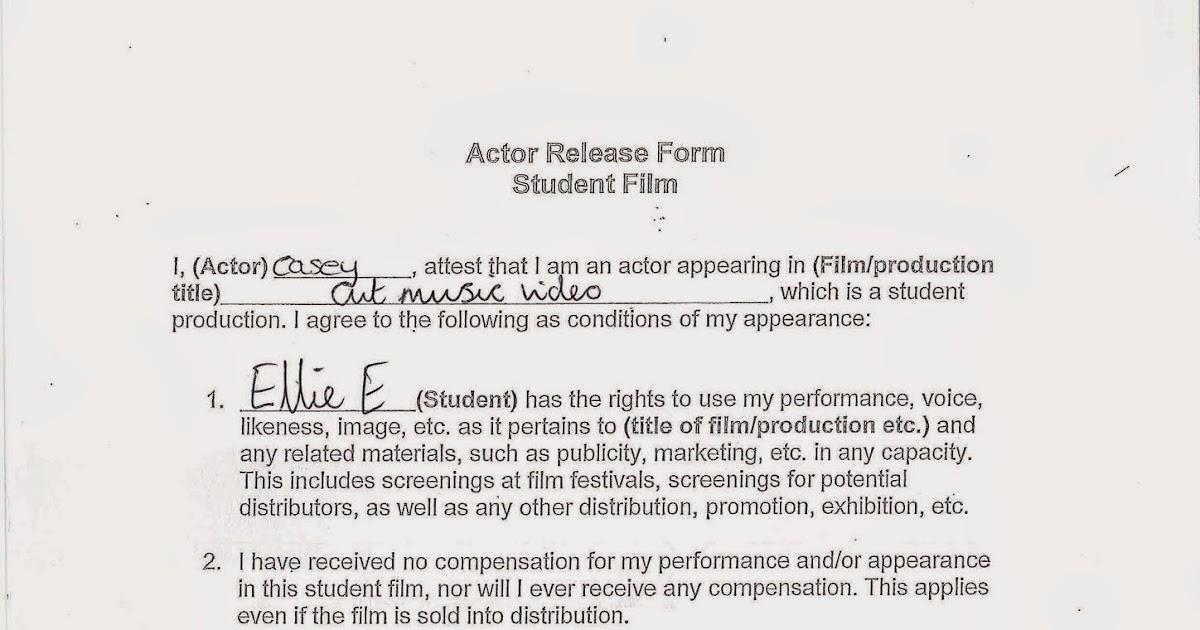 Actor Release Forms   A2 Media Portfolio Actor Release Formsfresh Talent Release Form