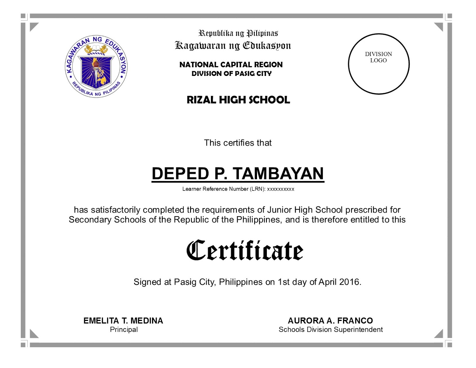 Bulletin enclosure no 2 junior high school certificate deped junior high school certificate english based on do 7 s 2016 yadclub