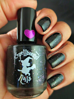Spellbound Nails, Ashes & Soot, Christmas, black jelly, glitter, holo glitter, purple glitter, indie, indie brand, indie polish, nails, nail art, nail design, mani