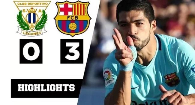 cuplikan gol leganes vs barcelona 0-3